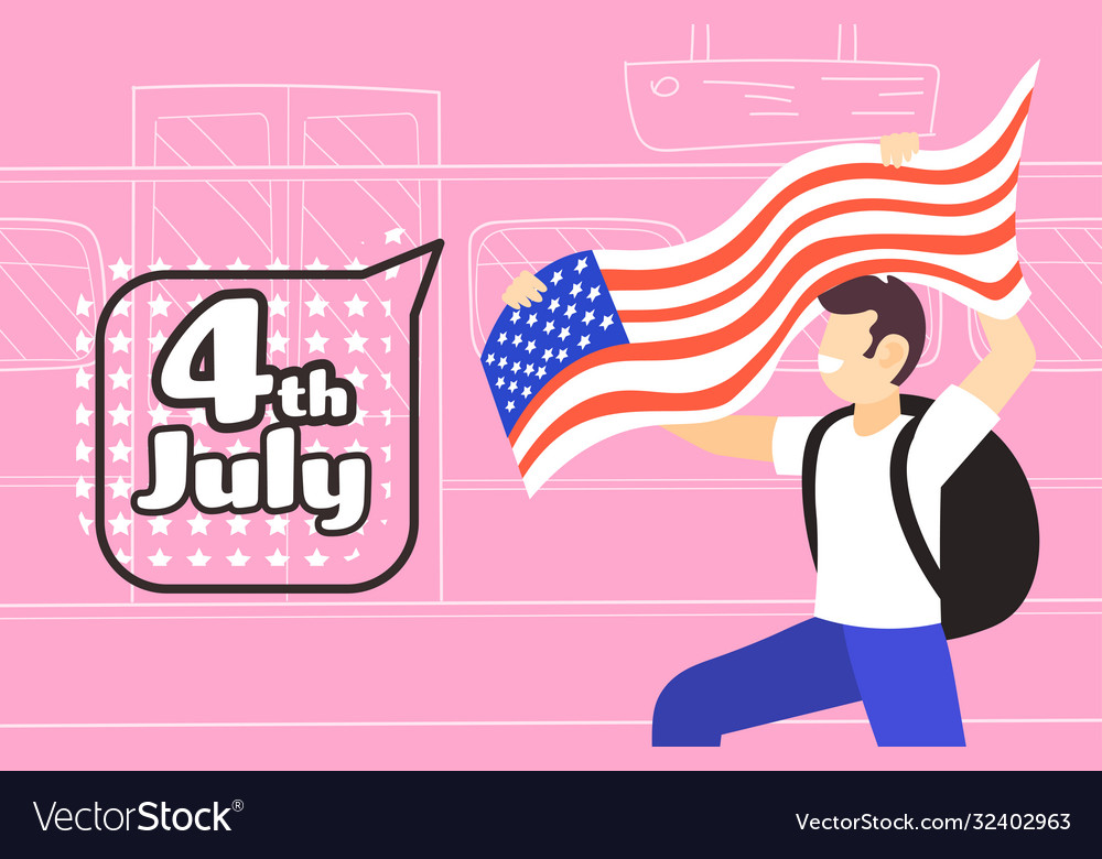 Man with usa flag celebrating 4th july american