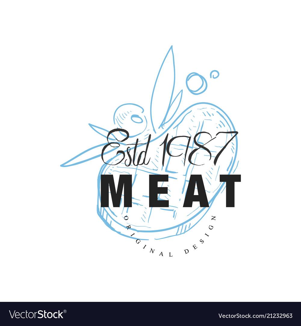Meat logo original design estd 1978 retro emblem