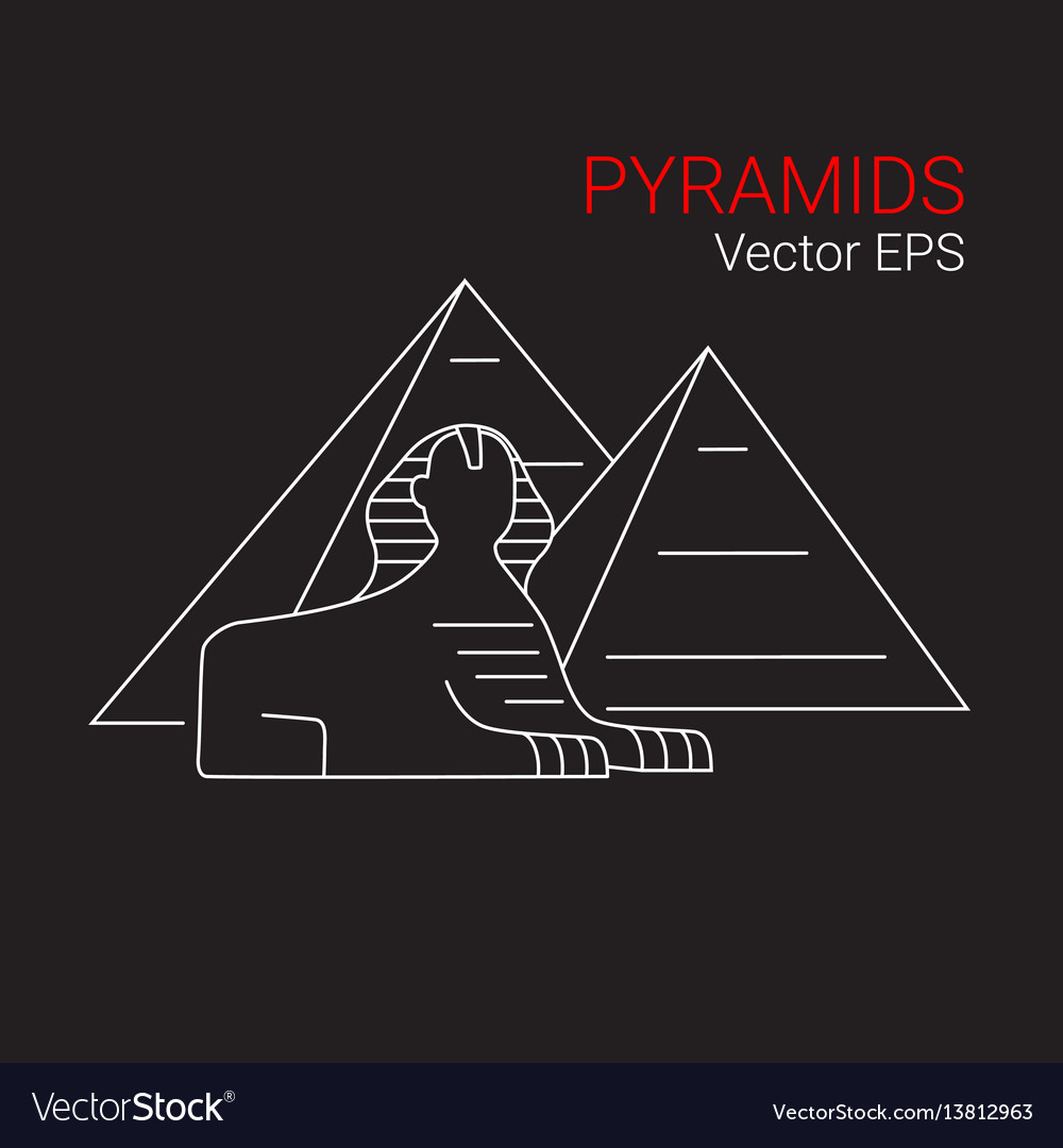 Printsphinx and pyramid egypt line icon