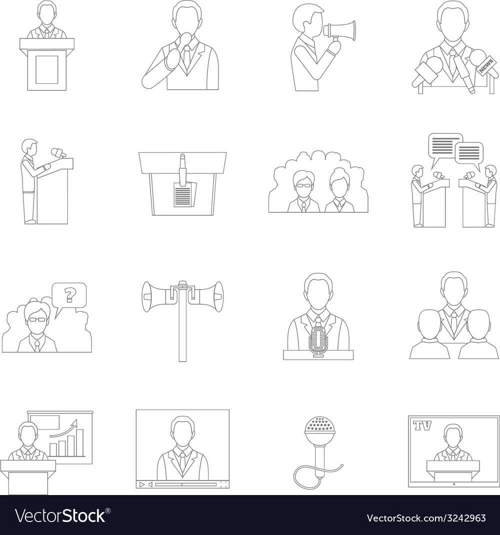 public speaking icons outline royalty free vector image