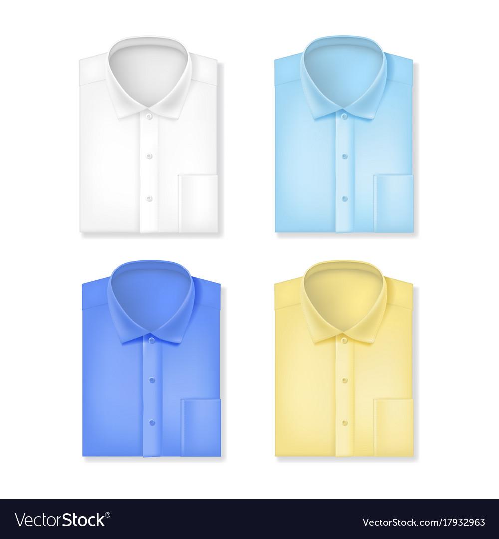 Realistic 3d classic shirts set vector image