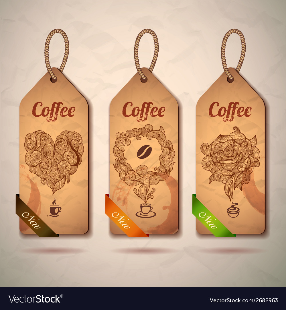Set of vintage decorative coffee labels