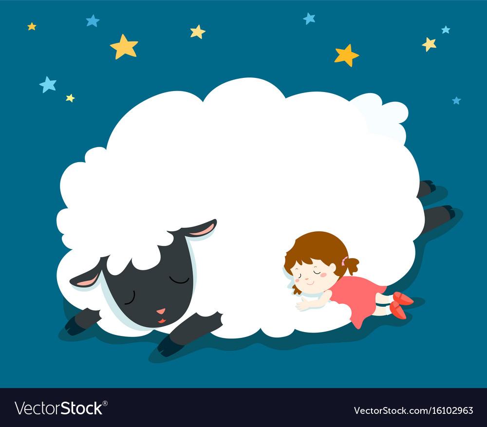 Sleeping girl with fluffy sheep vector image