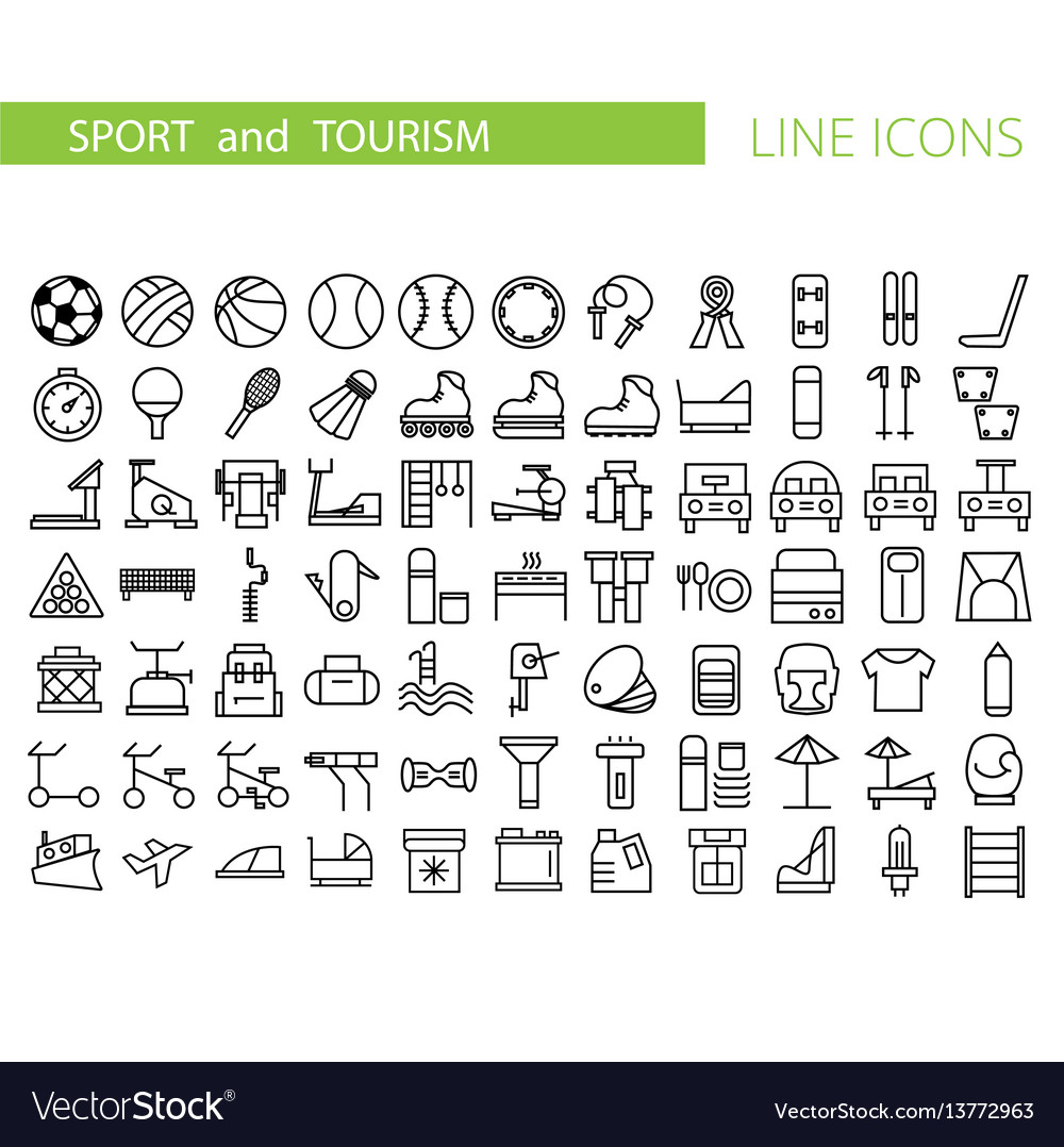 Sport and recreation flat icon set collection of