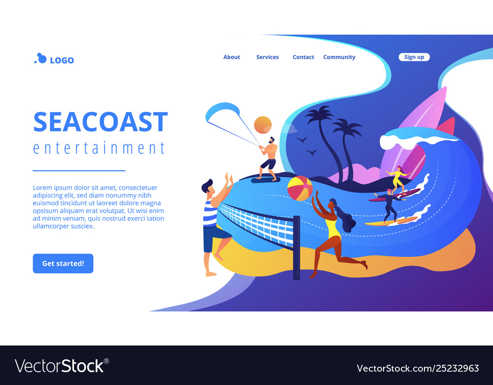Summer beach activities concept landing page