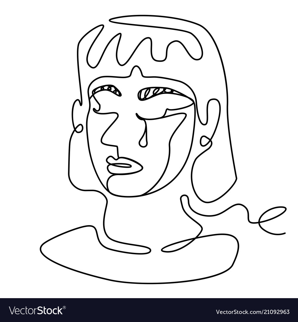 Tearing woman one line portrait facial expression