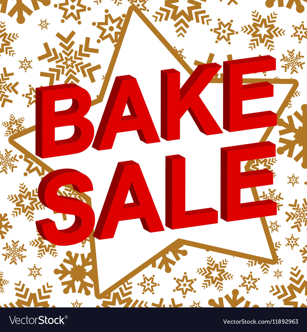 Winter sale poster with BAKE SALE text