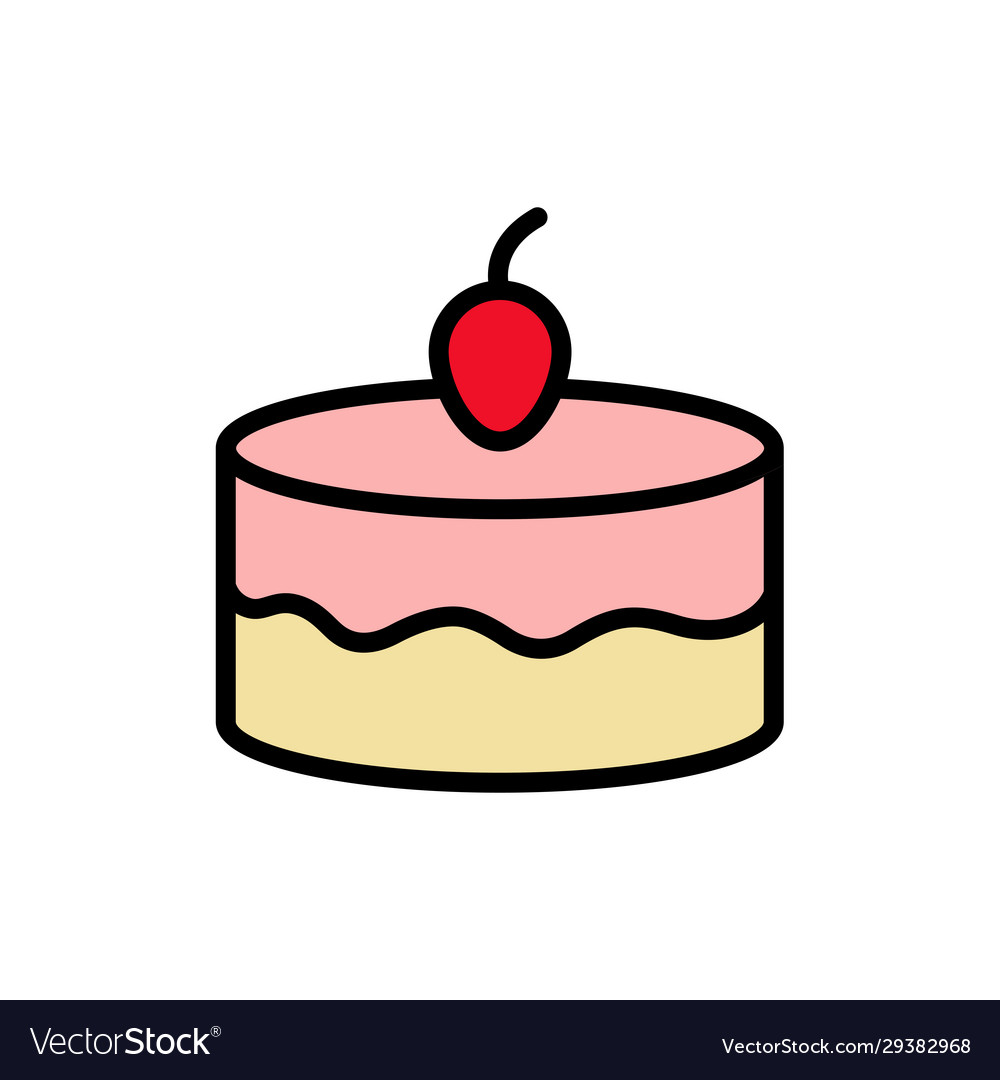 Peachy Cake Birthday Cake Icon Design Template Vector Image Funny Birthday Cards Online Inifodamsfinfo