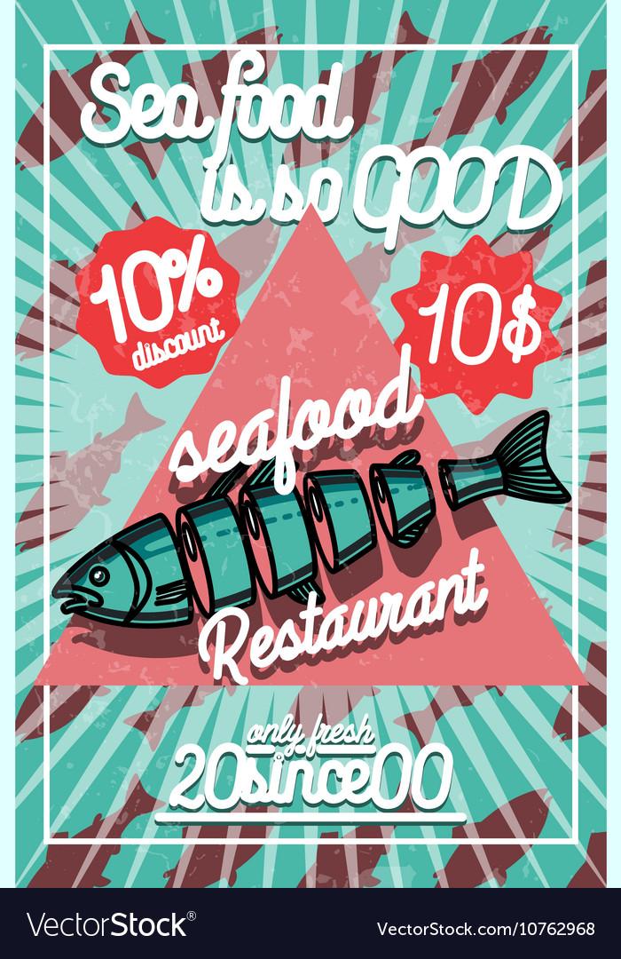 Color vintage seafood restaurant poster