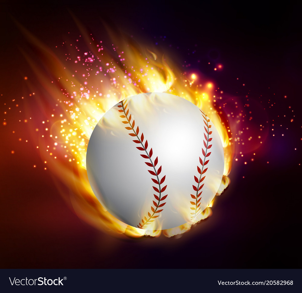 Dirty baseball speeding through the air on fire