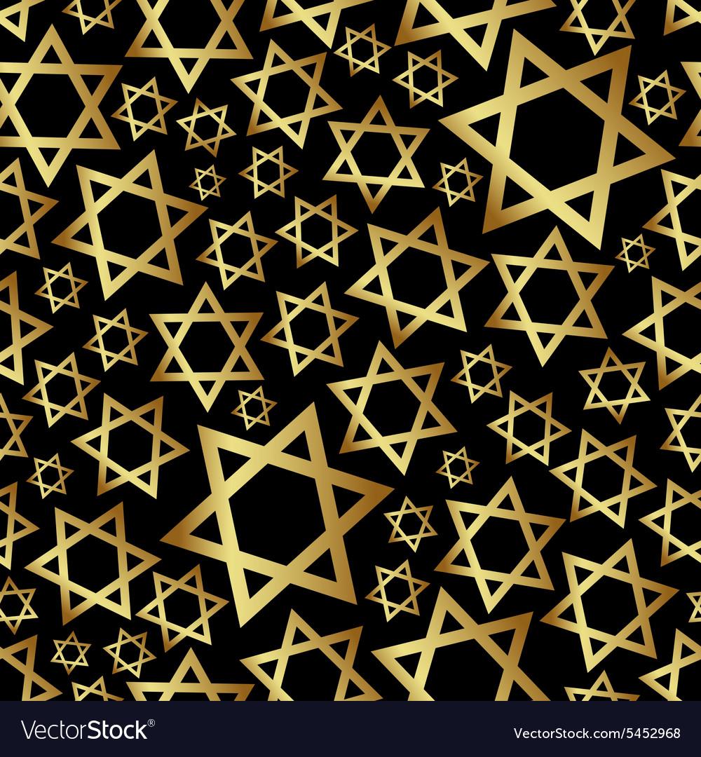 Gold star of David dark religion seamless pattern