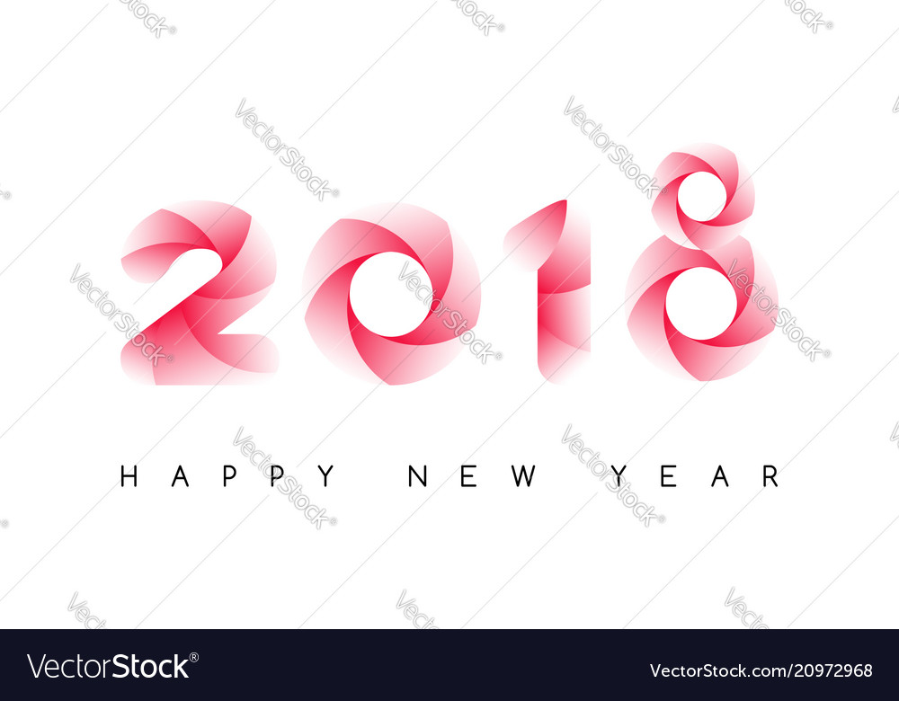 Happy new year 2018 colorful typeface isolated on