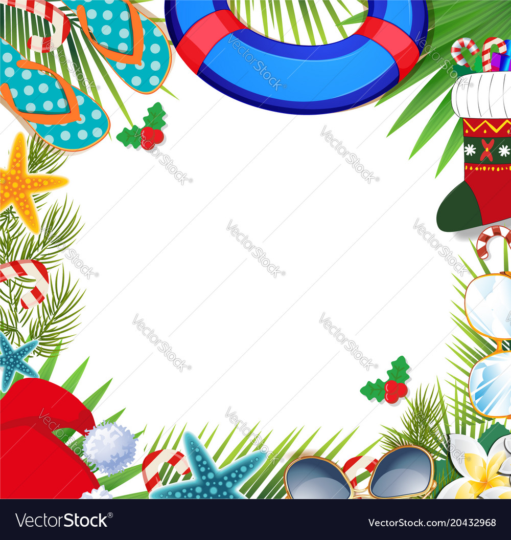 Merry christmas and happy new year border on a Vector Image