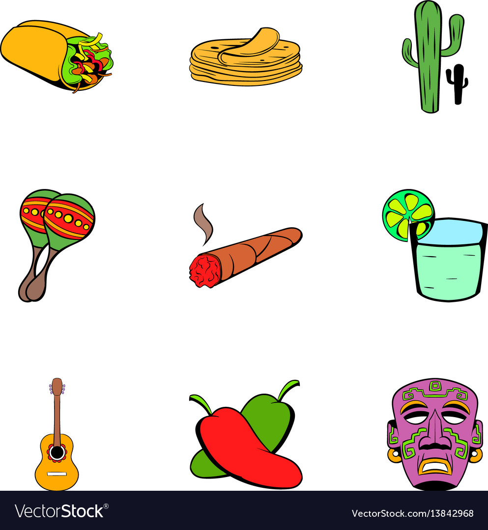 Mexican icons set cartoon style