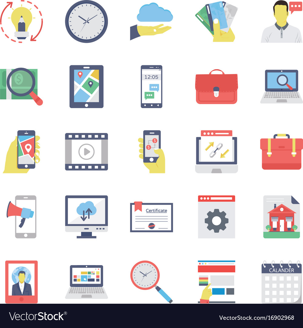 Seo and marketing flat colored icons 3