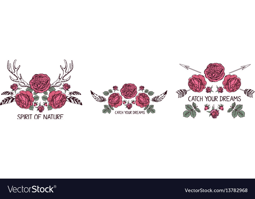 Set of hand drawn boho style design with rose