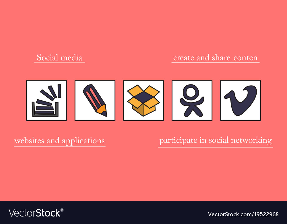 Social Network Symbols In Speech Balloons Vector Image