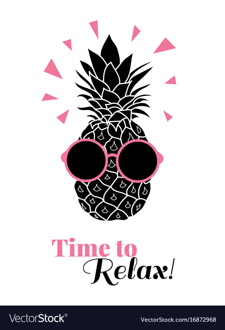Time to relax pineapple wearing colorful
