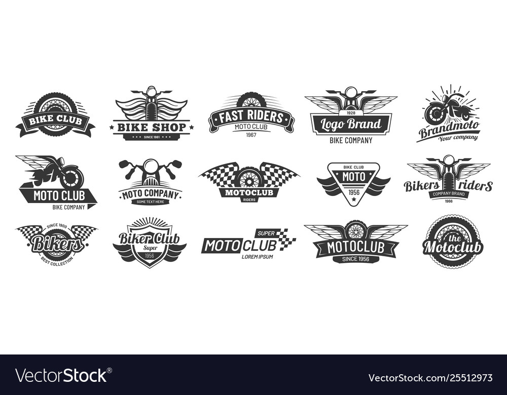 Biker club emblems retro motorcycle rider badges