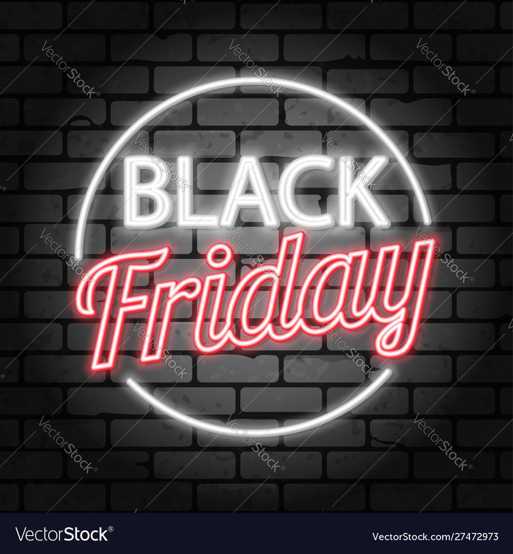 Black friday sale neon signboard