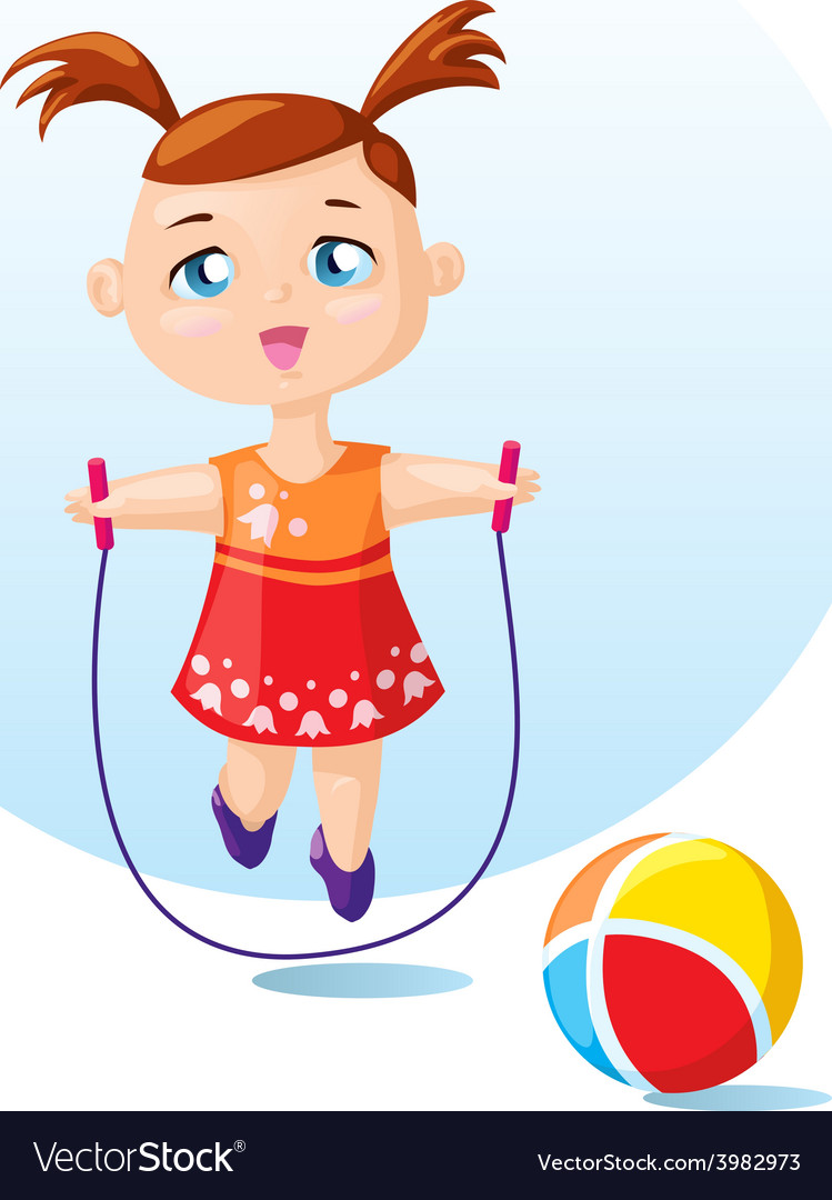 Cute girl with skipping rope