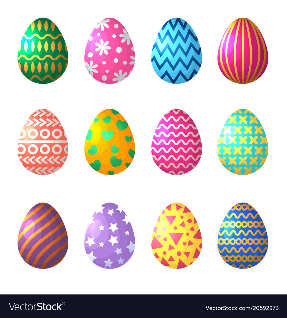 Easter eggs in cartoon style celebration symbols