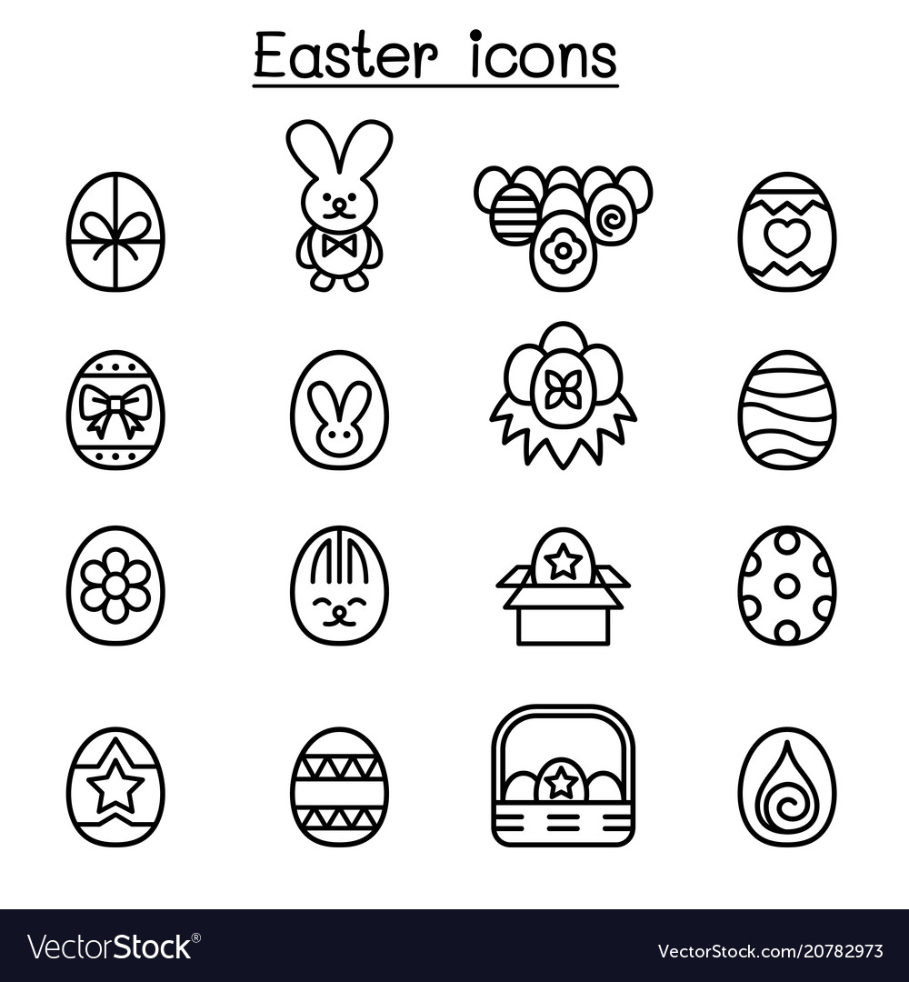 Easter icon set in thin line style