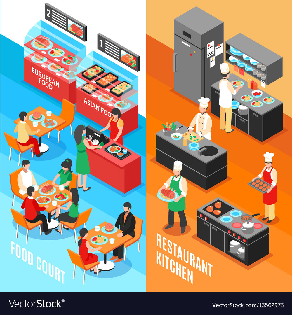 Fastfood kitchen banners set vector image