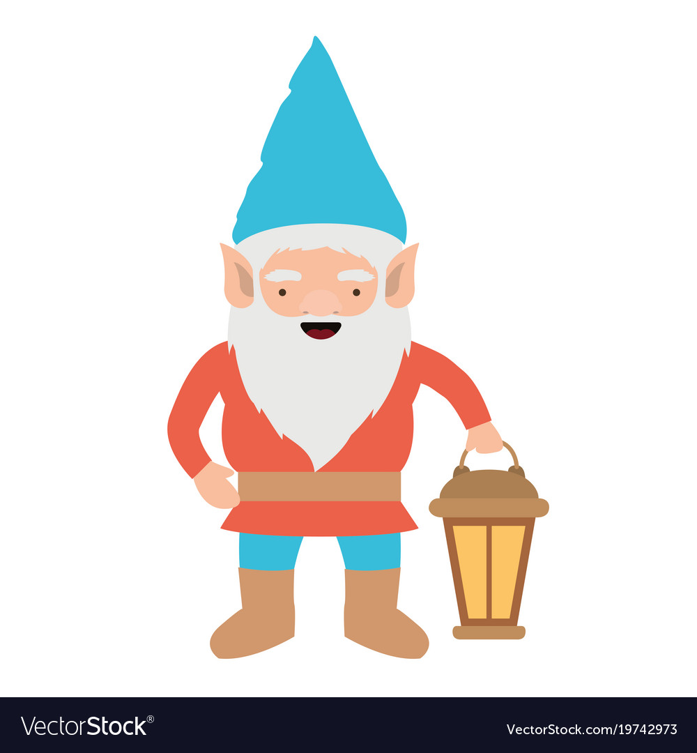 Gnome with colorful costume with hand lamp on vector image