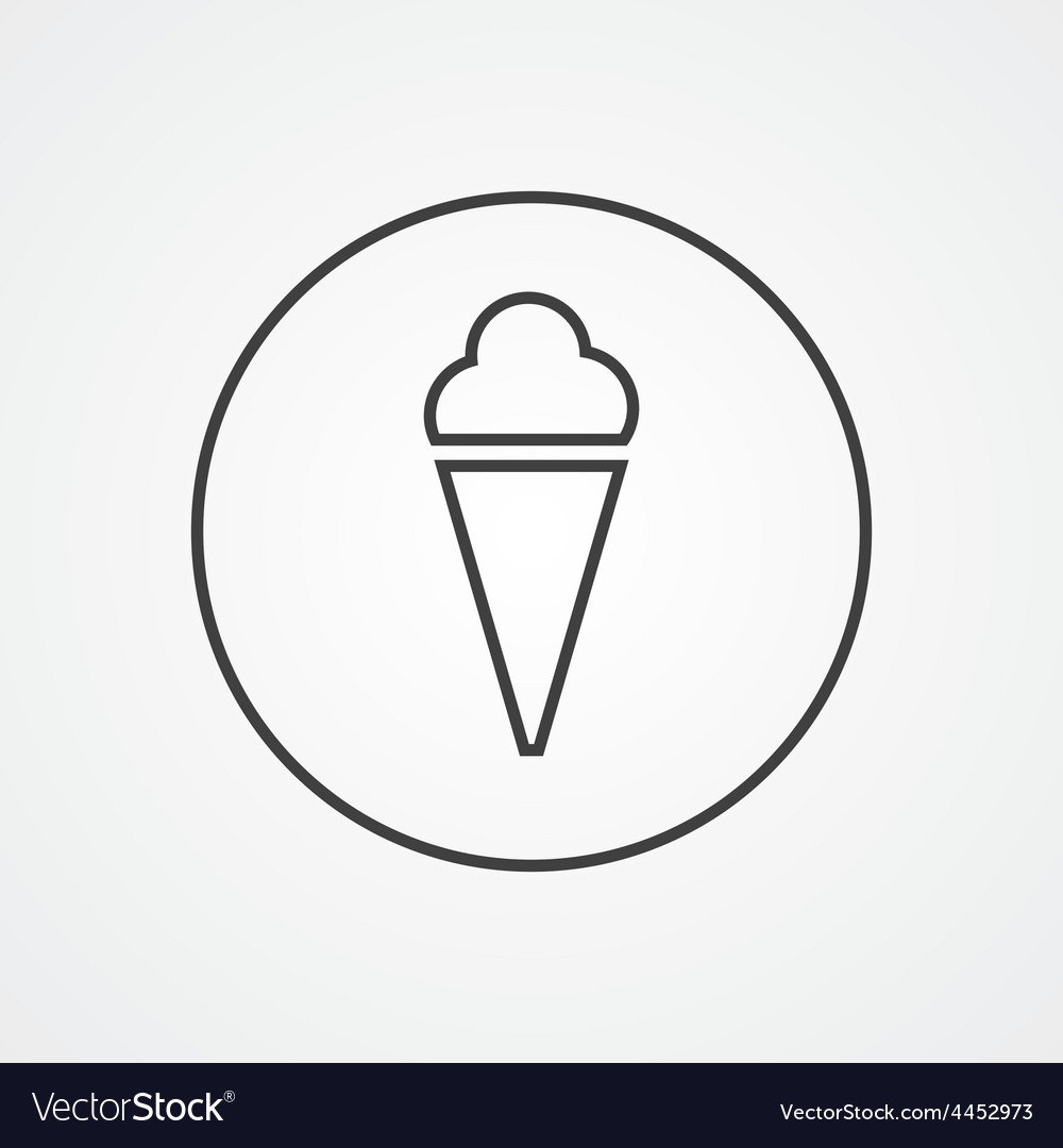 Ice cream outline symbol dark on white background