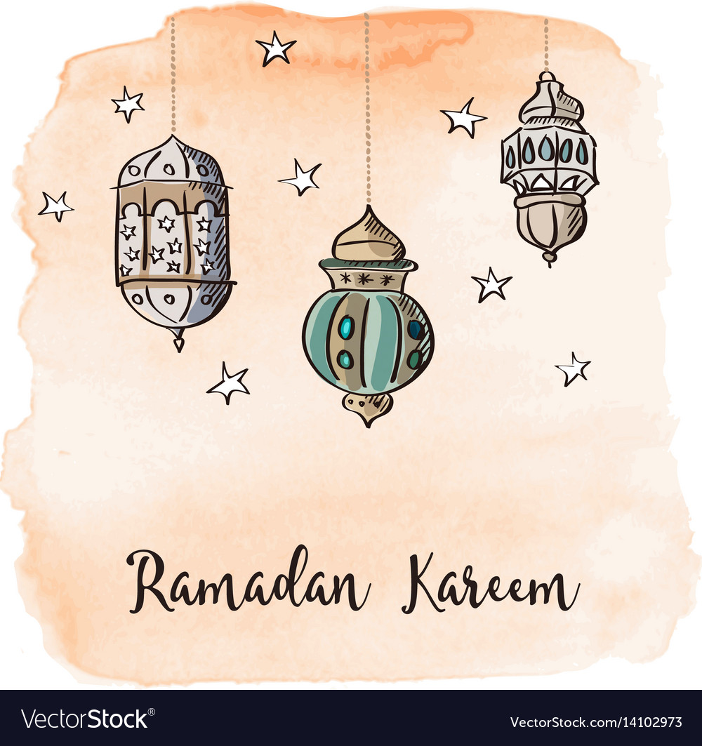 Ramadan arabic lanterns with orange watercolor vector image