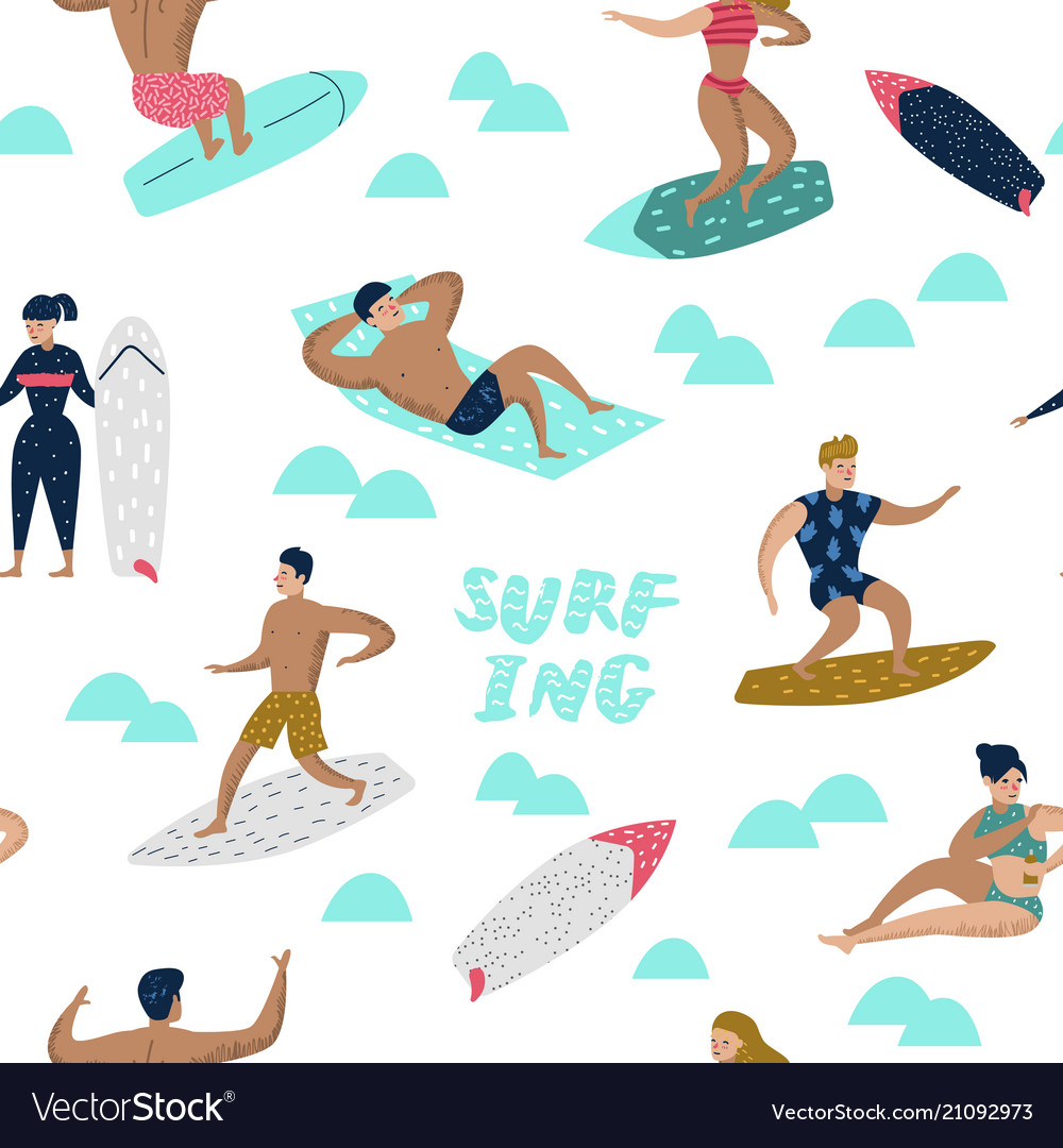Seamless pattern with characters people surfing
