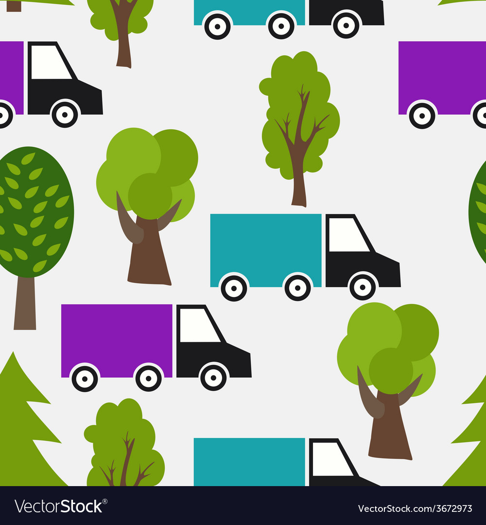 Seamless Pattern with Truck and Tree Background in