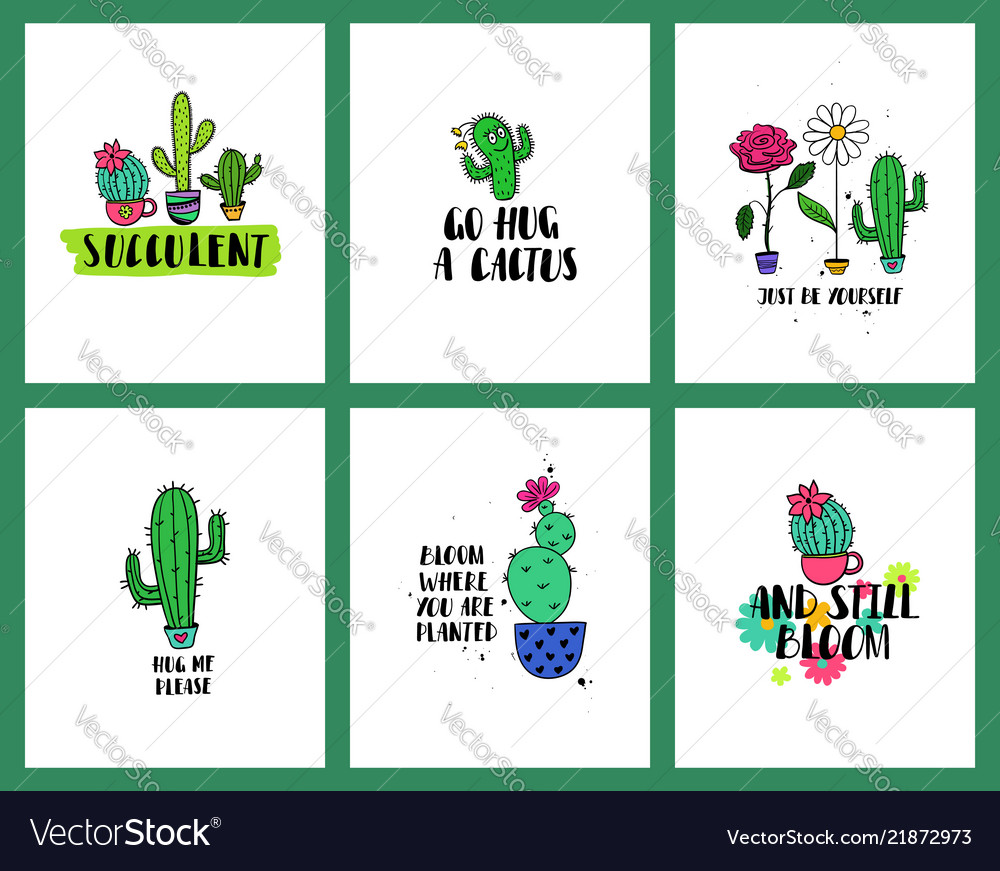 Set of funny cacti cards and lettering