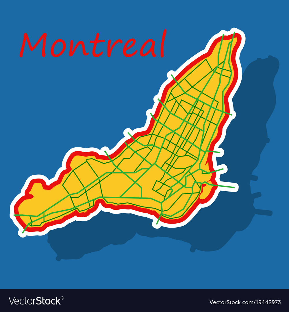 Montreal Map Of Canada.Sticker Map Of Montreal Is A City Of Canada With