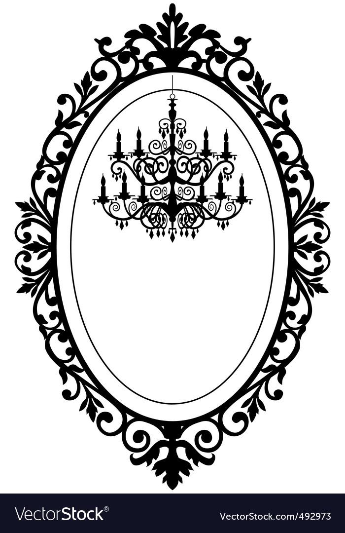 Vintage frame with chandelier vector image