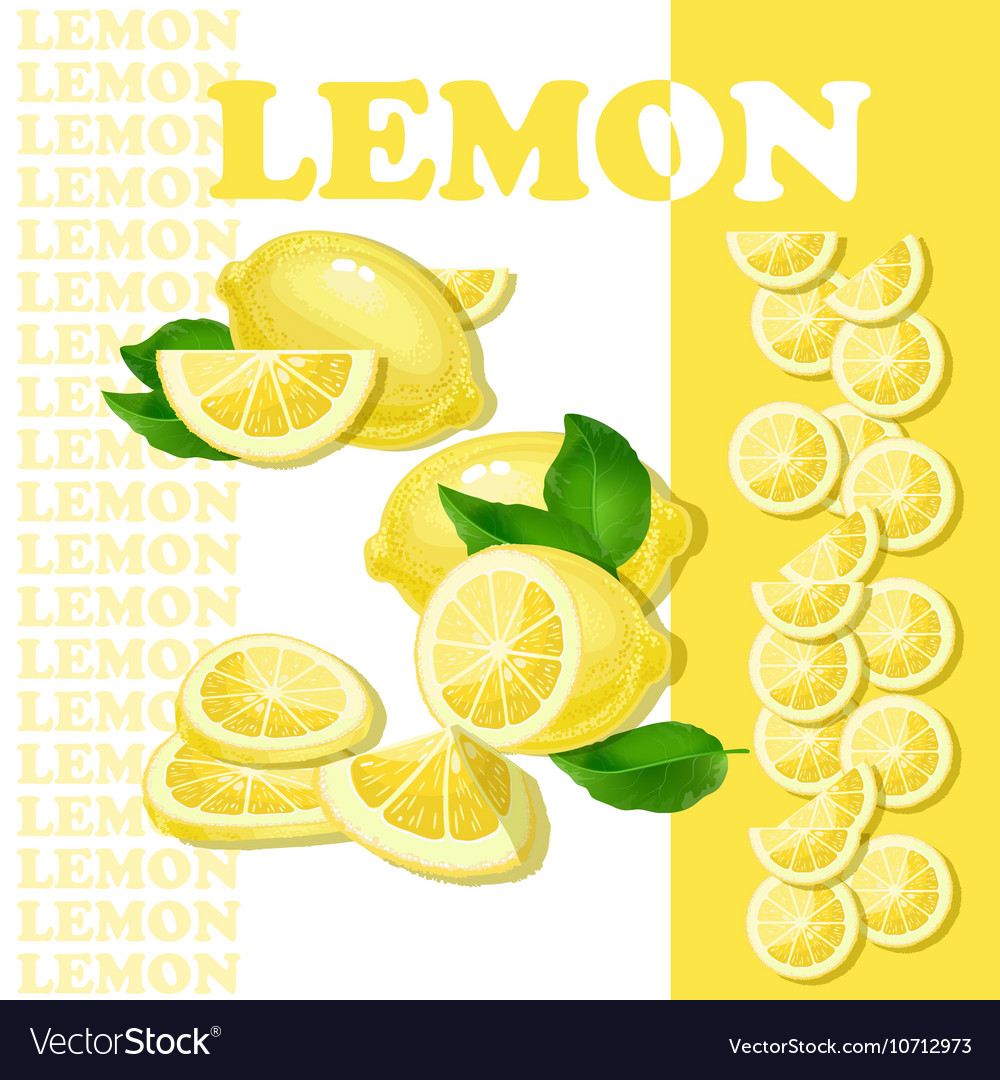 With lemon and slices isolated