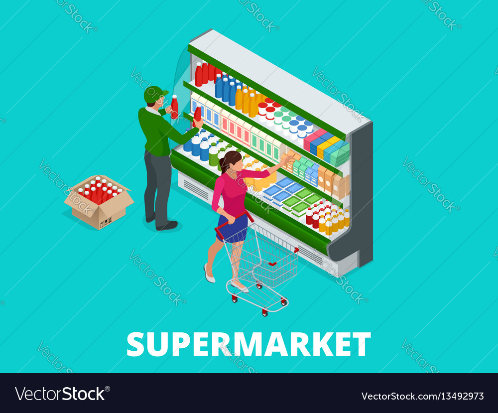 Woman shopping milk in grocery store isometric