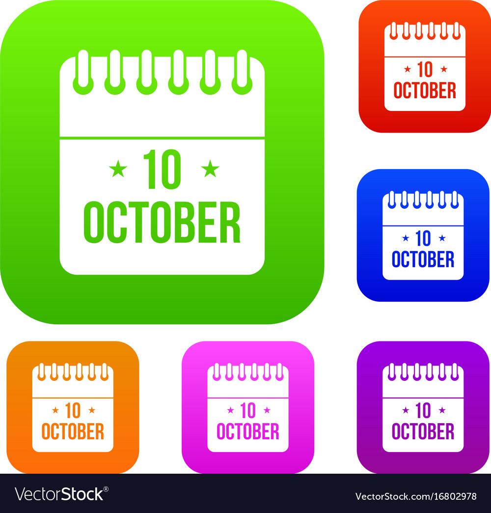 10 october calendar set collection vector image