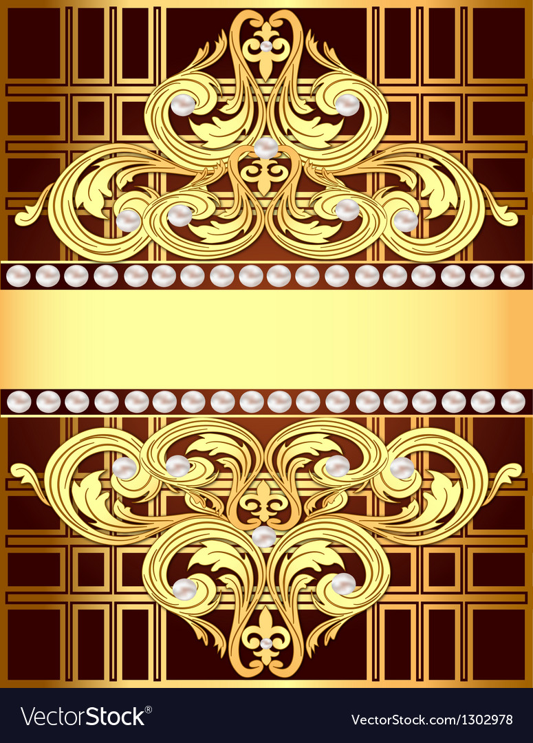 Background with a strip of gold ornaments and pear