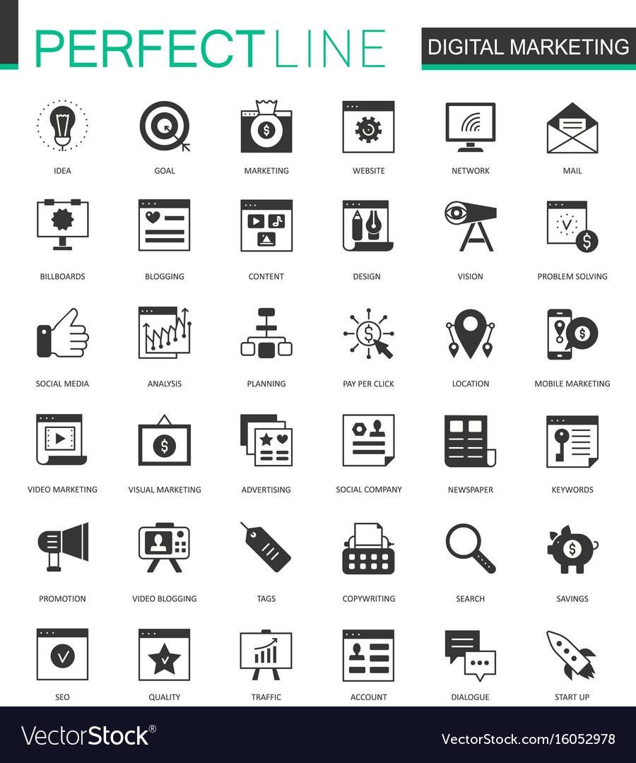 Black classic digital marketing web icons set