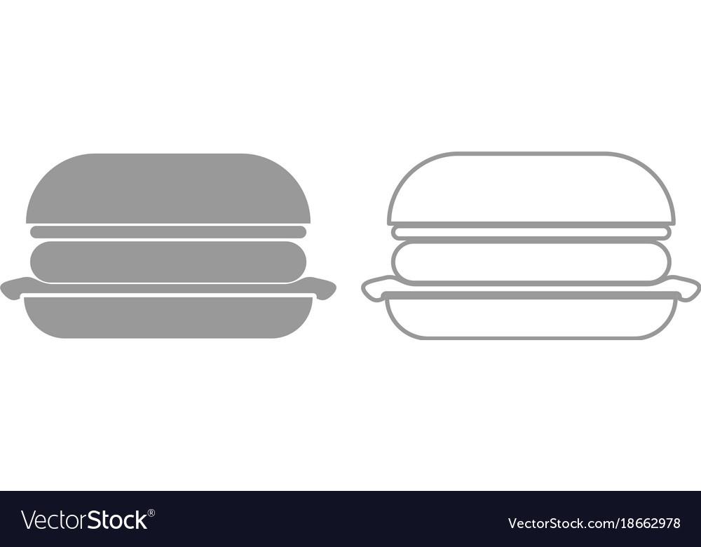 Burger icon grey set vector image