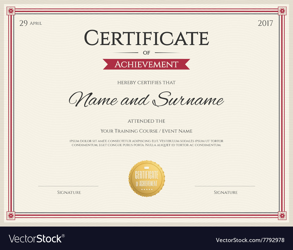 Certificate Of Achievement Template Red Royalty Free Vector