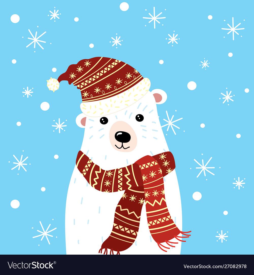 Christmas a polar bear in a hat