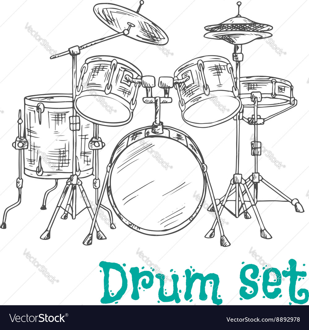 Five piece drum kit sketch icon