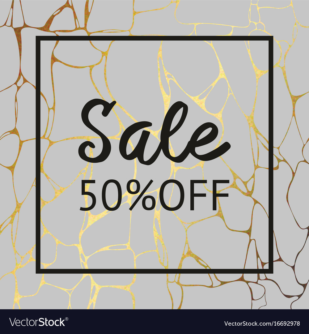 Gray marble texture with gold for sale decorative vector image