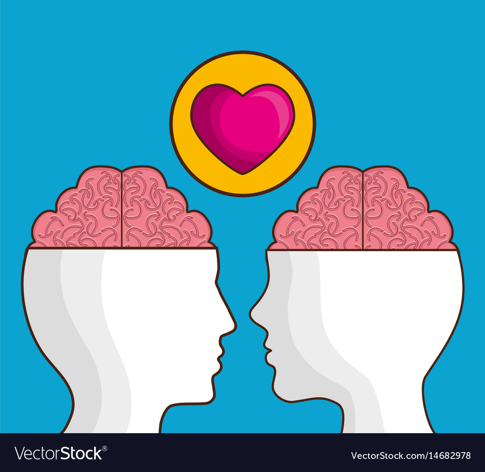 Heads with brain icon vector image