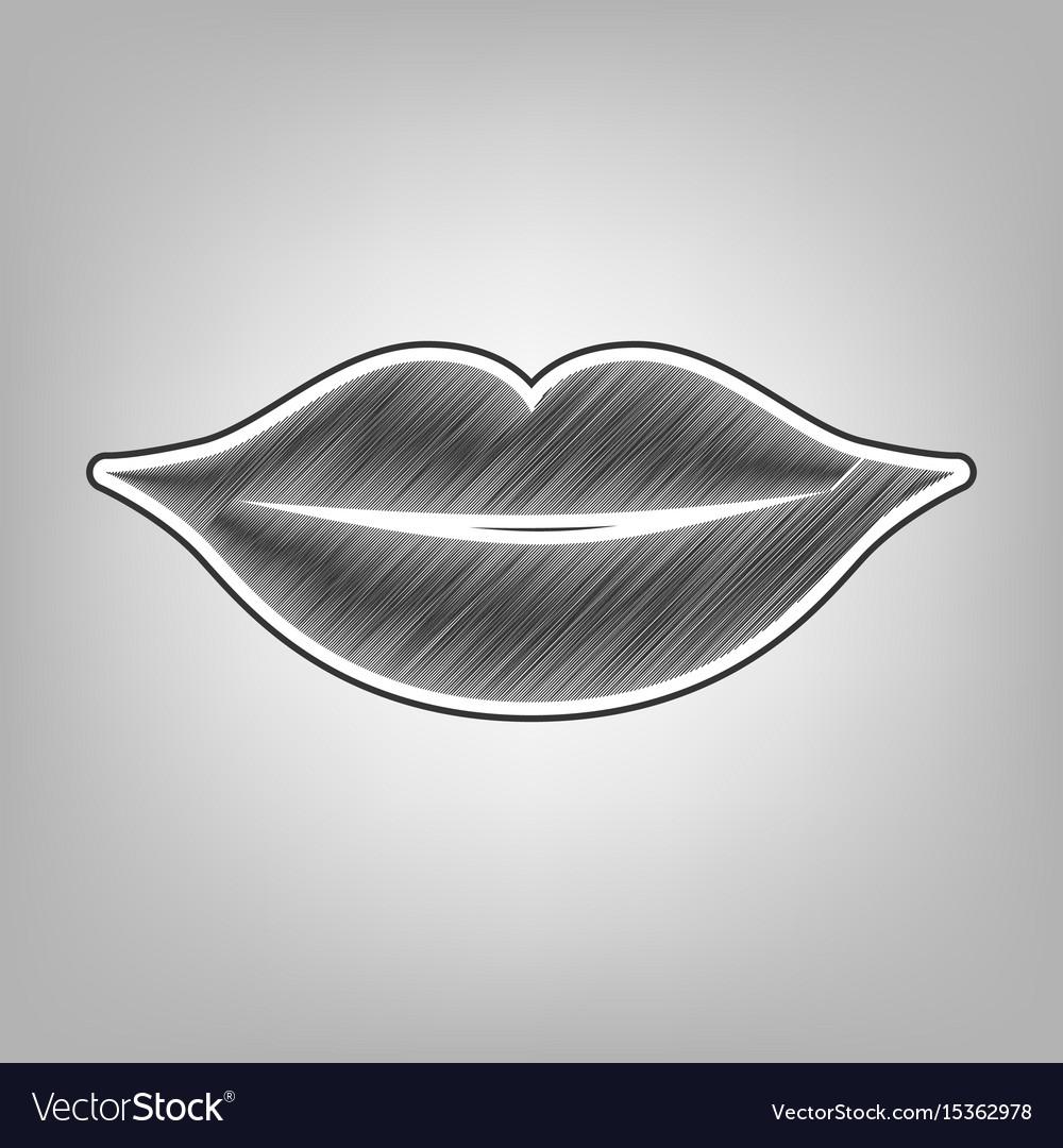 Lips sign pencil sketch