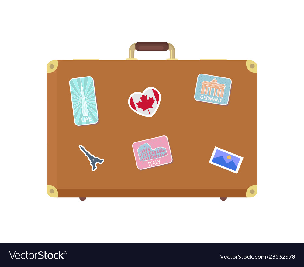 Luggage journey for traveler with bag icon