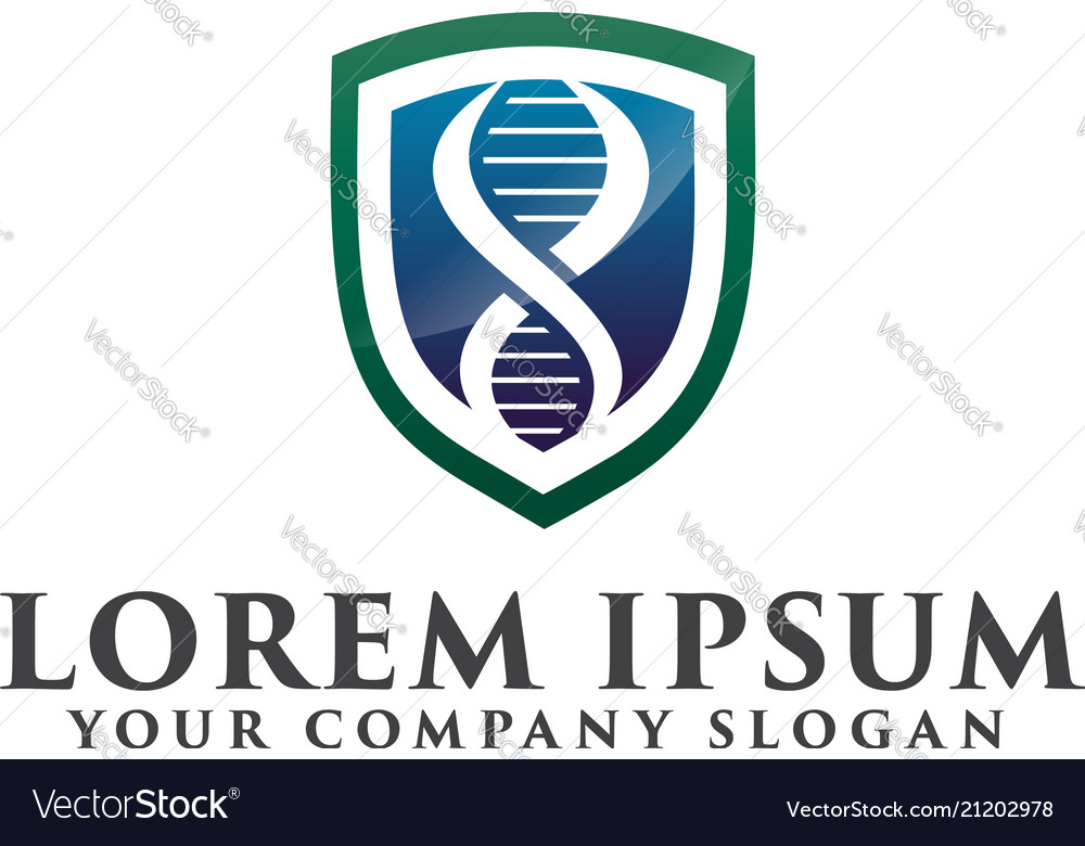 Medical shield logo genetic logo design concept vector image